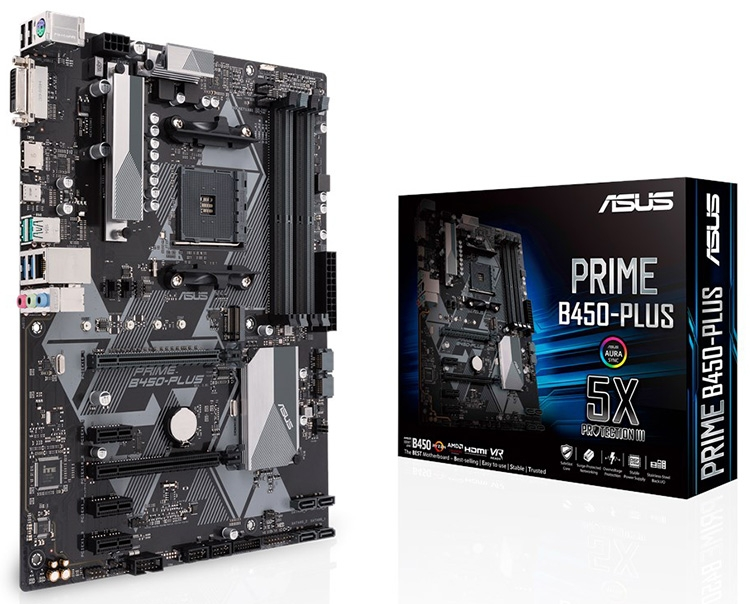 Плата ASUS Prime B450-Plus метит в бюджетный сегмент