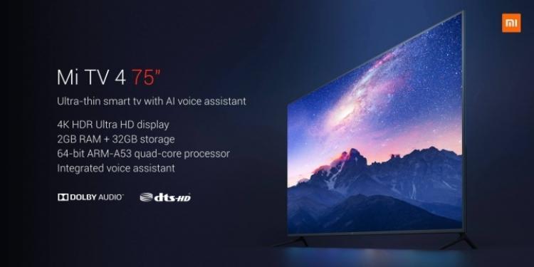 Xiaomi Mi TV 4 75″: смарт-ТВ с экраном 4К HDR за $1405