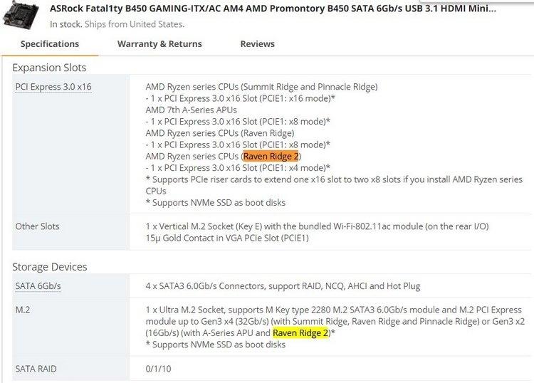 Плата ASRock Fatal1ty B450 Gaming-ITX/AC поддерживает загадочные процессоры Raven Ridge 2