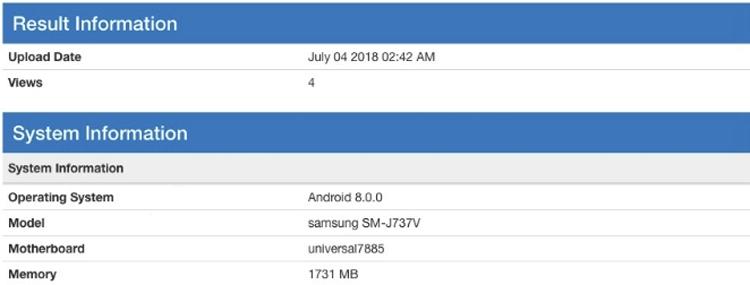 Смартфон Samsung Galaxy J7 Aero «засветился» в бенчмарке
