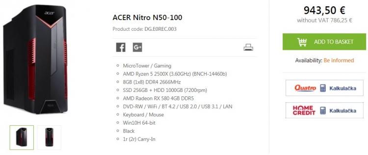 Acer выпустила ПК на ещё не представленном процессоре AMD Ryzen 5 2500X