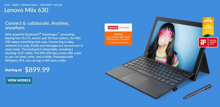 В продажу поступил ARM-планшет LenovoMiix 630 с Windows 10